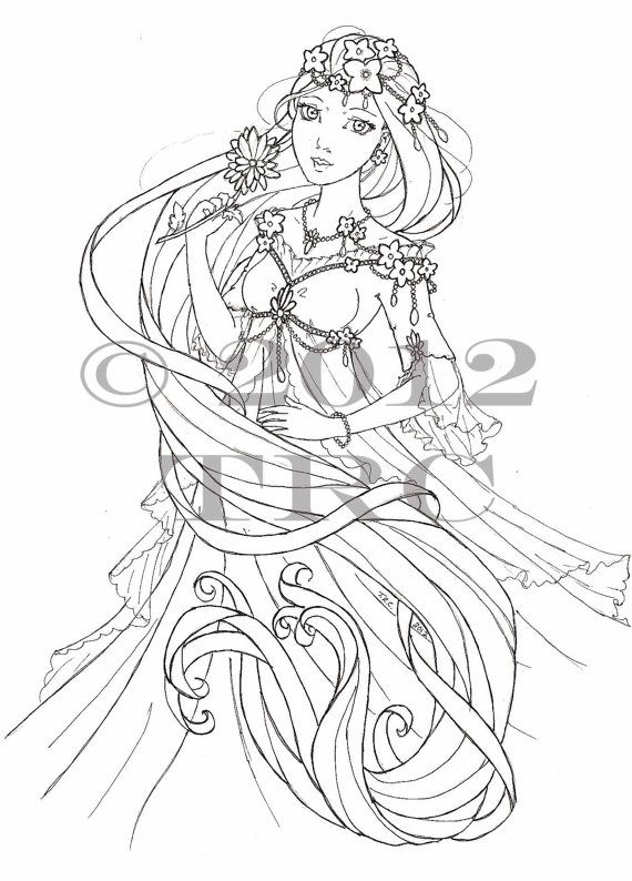 Long Haired Princess printable PDF coloring page by