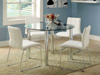 Dining Room, Marvelous Round Glass White Dining Table With ...