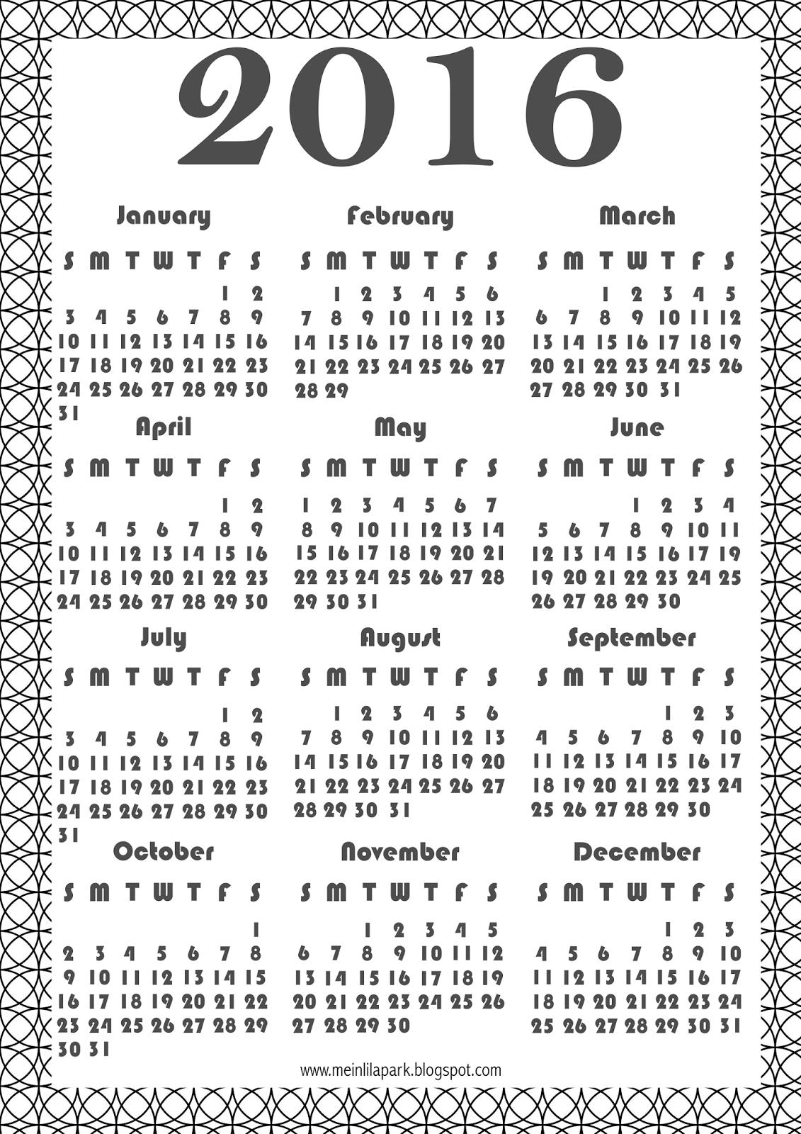 Free Printable Coloring Calendar