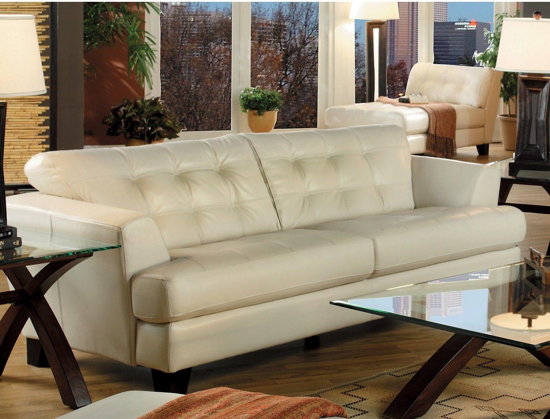 the brick cindy crawford reclining sofa ashley montgomery 2 cuerpos cafe main floor avenue genuine leather ivory