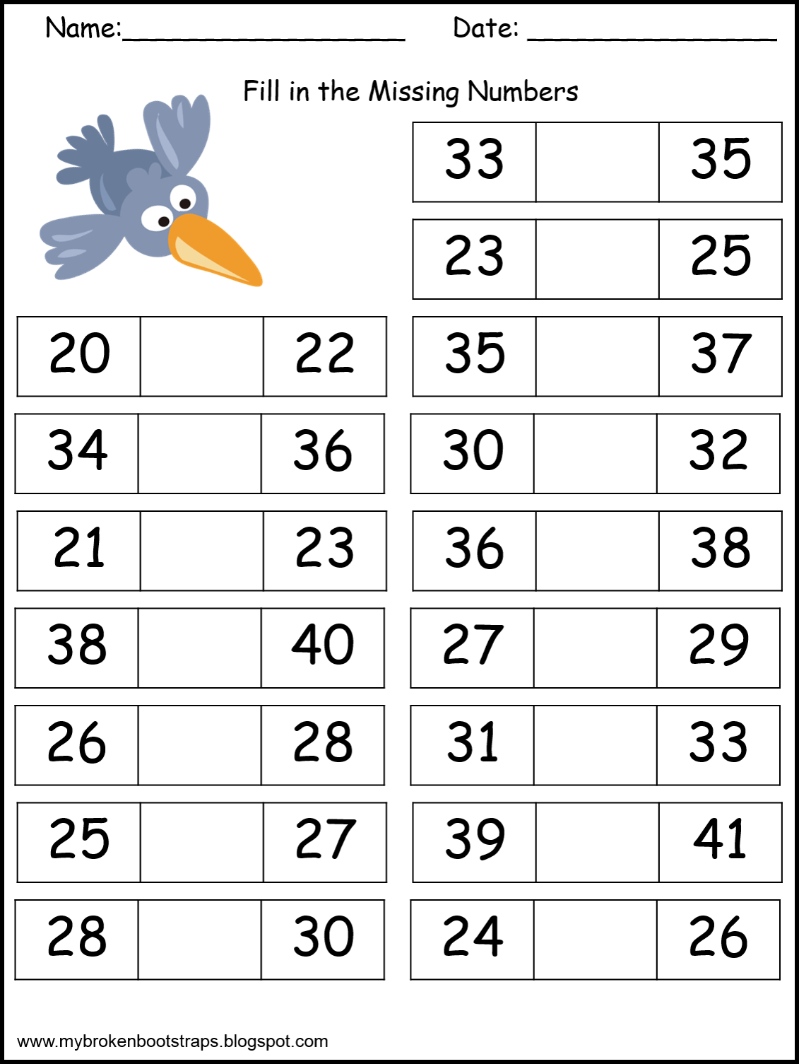 Adorable Free Worksheets For Missing Numbers 0