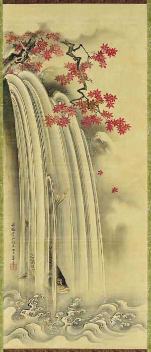 waterfall japanese tattoo drawing painting japan paintings silk tattoos drawings ink simple chinese autumn water artwork cranes edo oriental latter