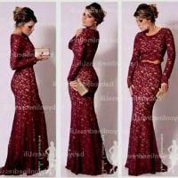Maroon lace prom dress | prom dresses | Pinterest