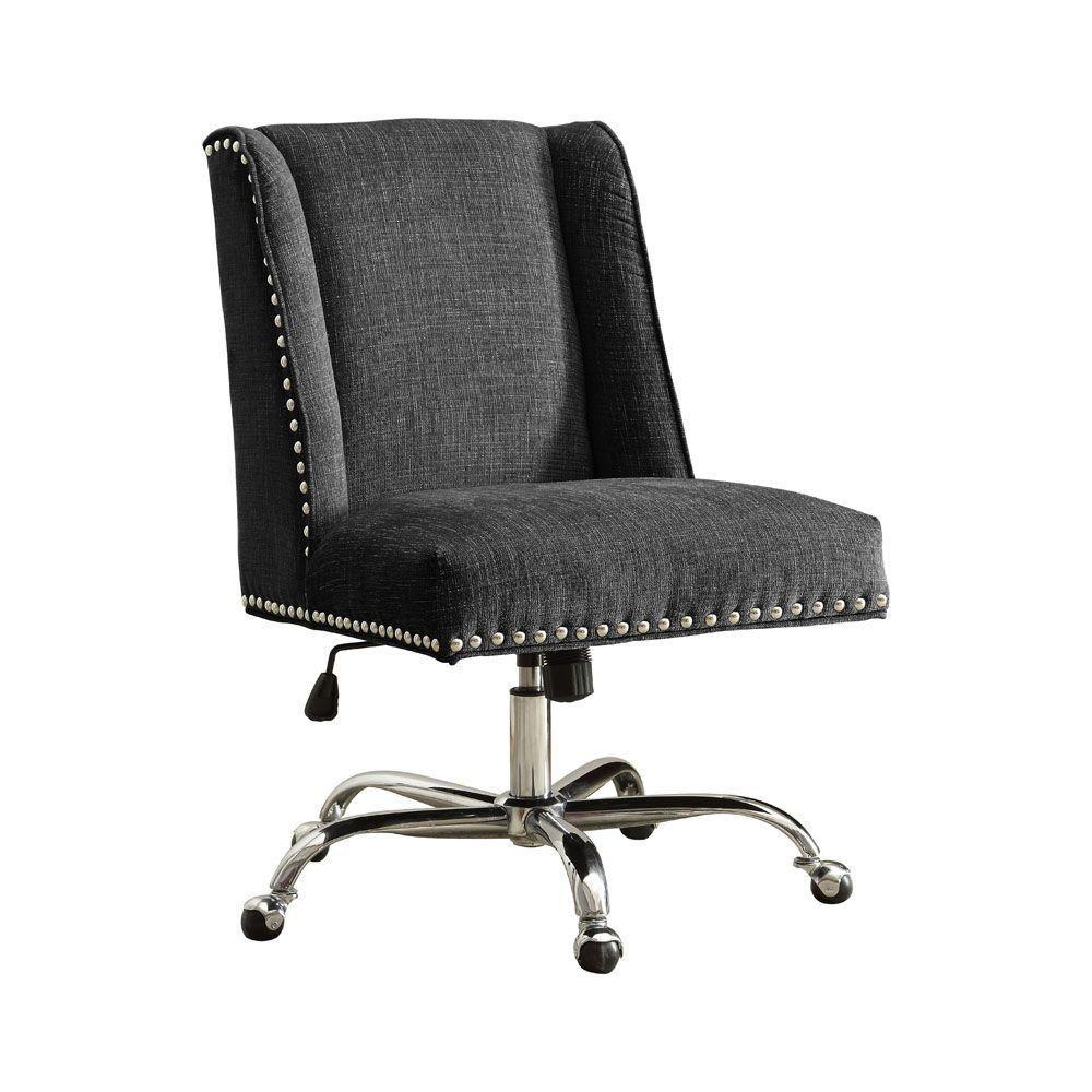 microfiber office chair wheelchair draper charcoal grey chrome