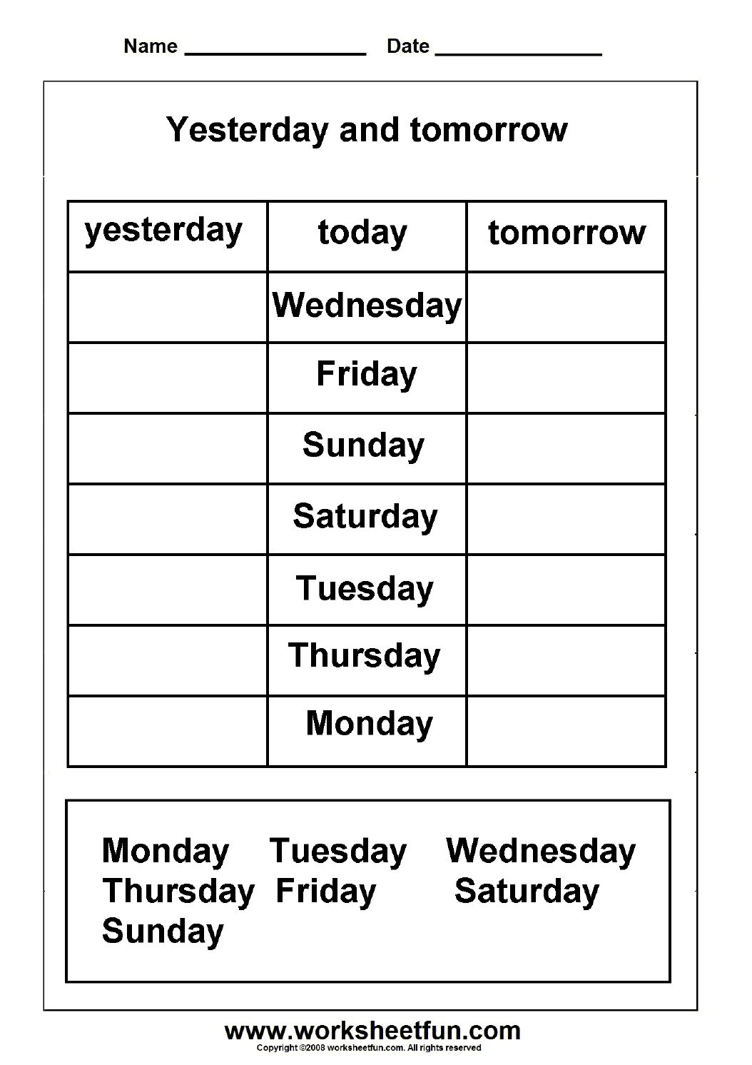 Free Days Of The Week Worksheets Cut And Paste