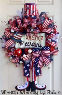 Patriotic Deco Mesh Uncle Sam Wreath, Front Door Wreath ...