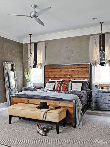 industrial grey bedroom Industrial Edge - Handsome wood plank headboard with a