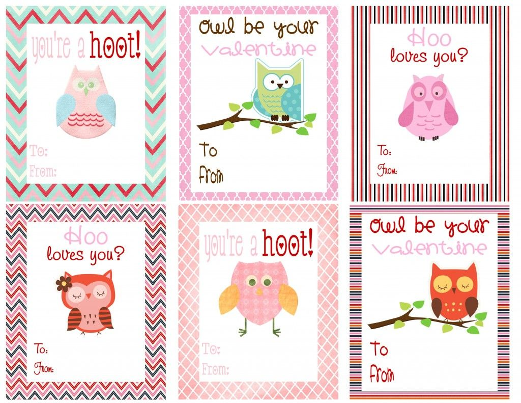 Free Printable Owl Themed Valentines