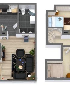 Floor plan featuring hardwood floors tile flooring spiral staircase stairs fireplace and real brand named decor items designed in business edition also  fd   fe ac be    pixels plantas de rh pinterest