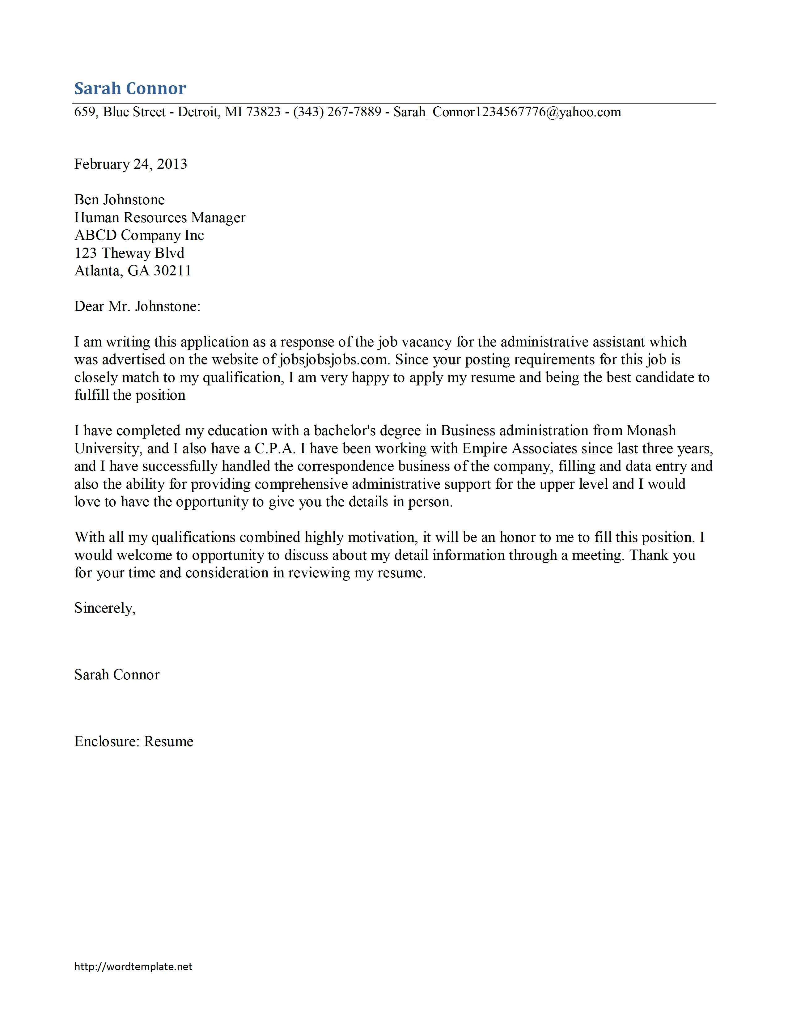 Cover Letter For Resume Examples Doc Sample Example Good Template