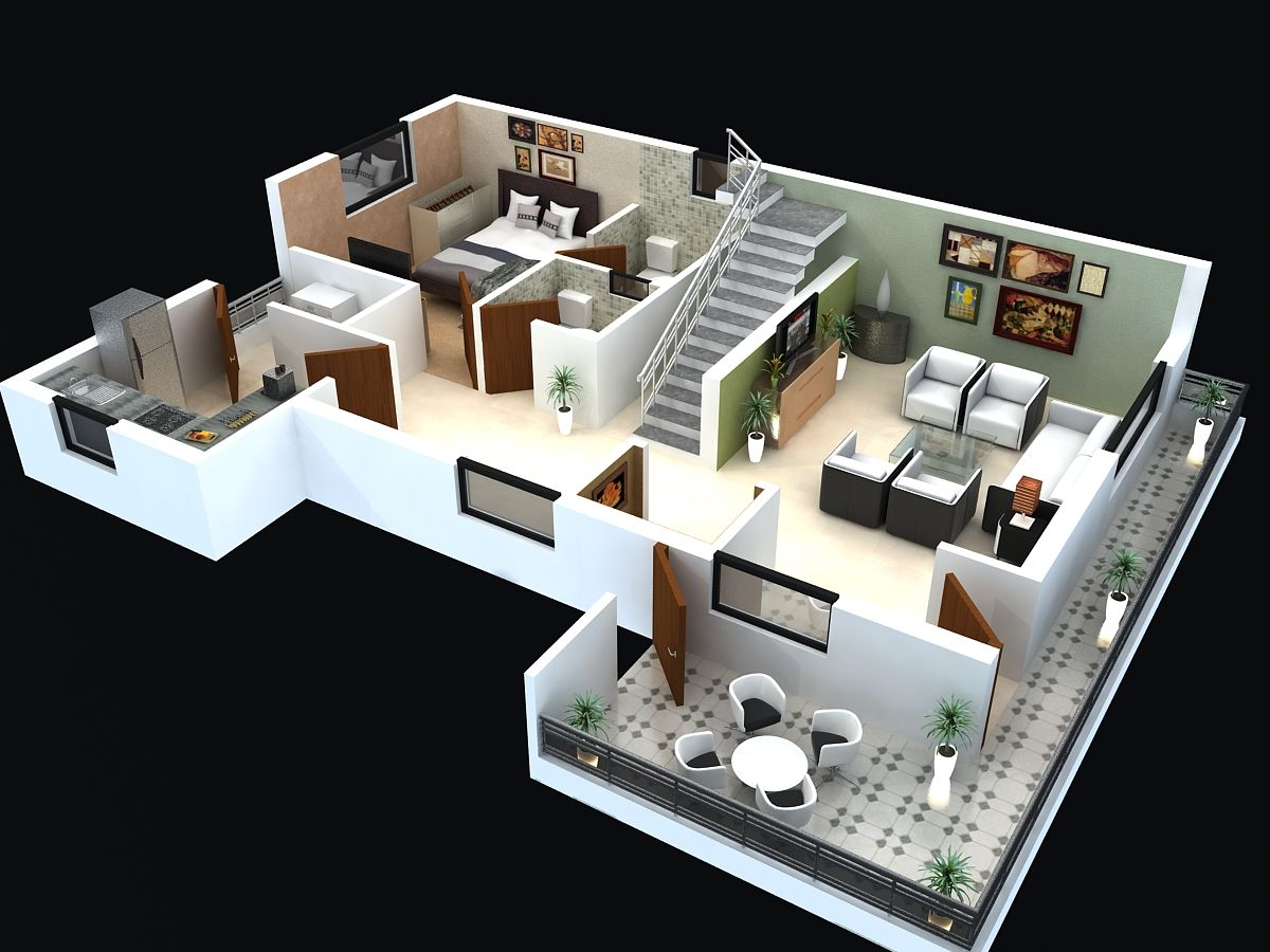 25 More 3 Bedroom 3D Floor Plans House Plans Design And House