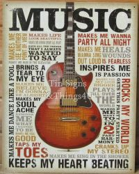 Music Inspires Me TIN SIGN metal poster vtg guitar wall ...