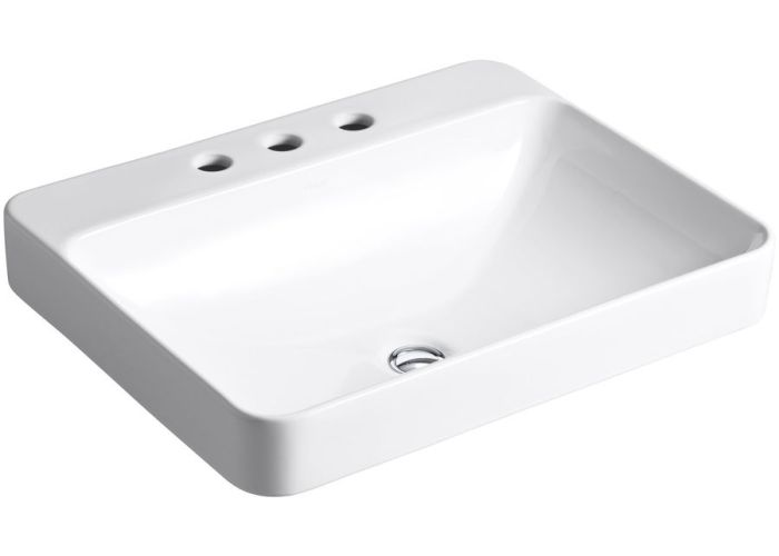 Kohler vox white vessel rectangular bathroom sink and overflow lowes also