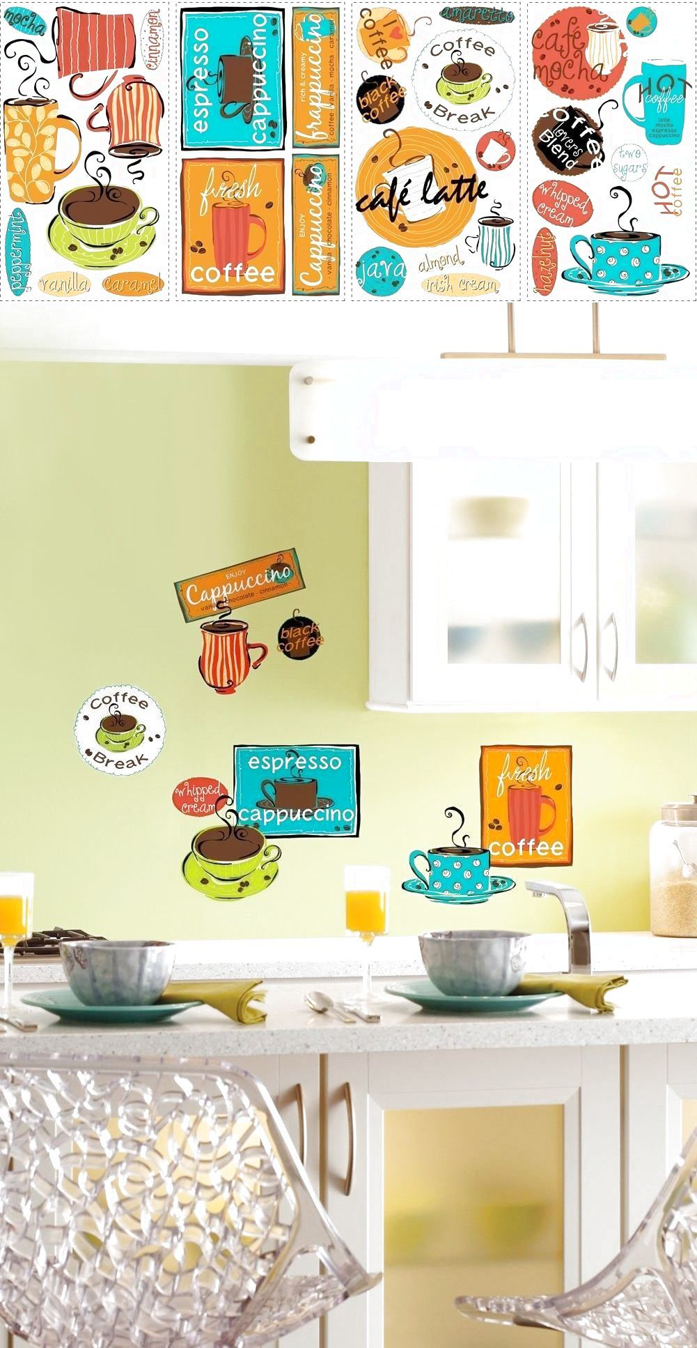 Cafe big wall stickers coffee cup java kitchen room decor decals espresso new also rh za pinterest