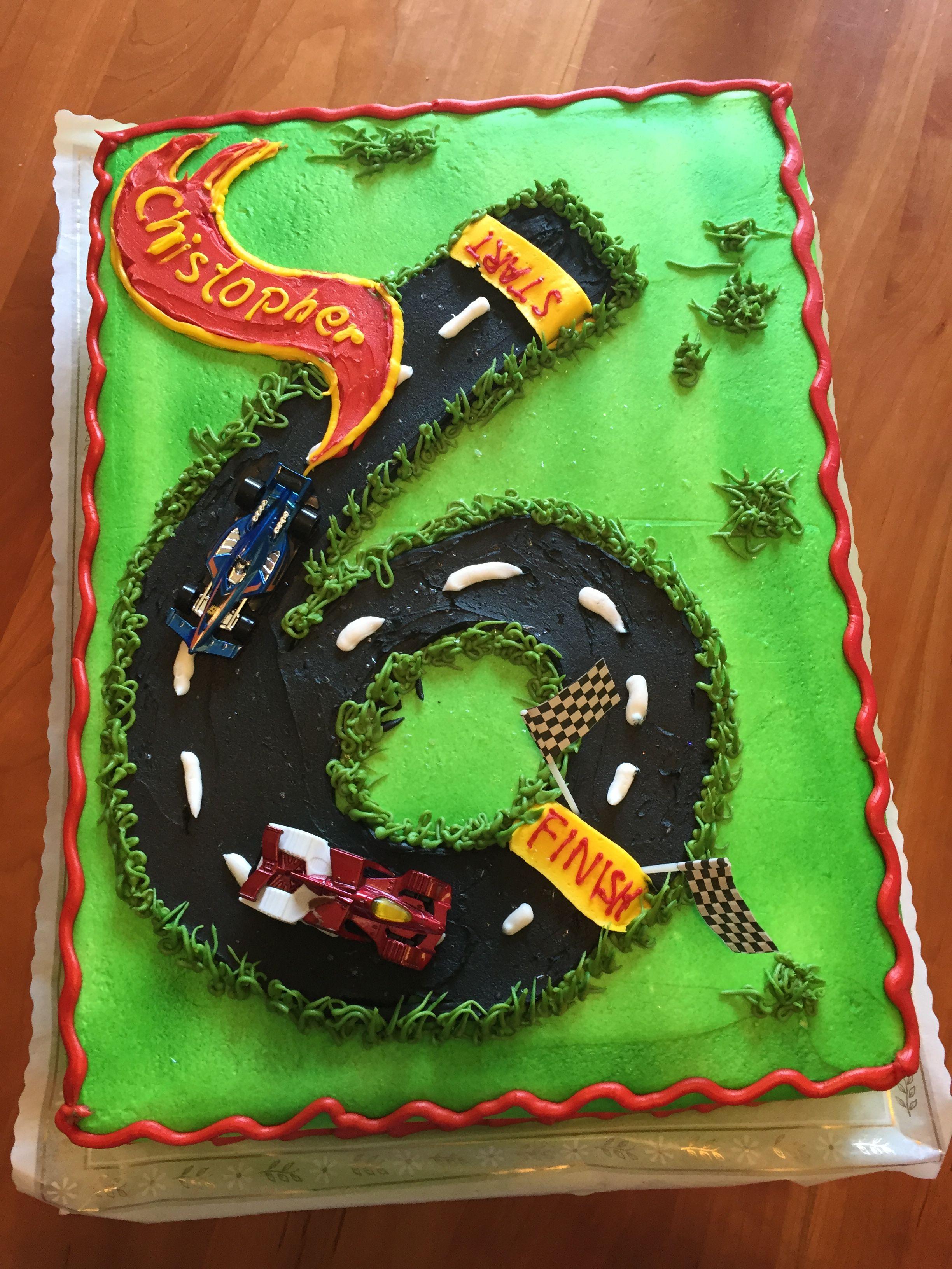 Hot Wheels Race Car 6th Birthday Cake