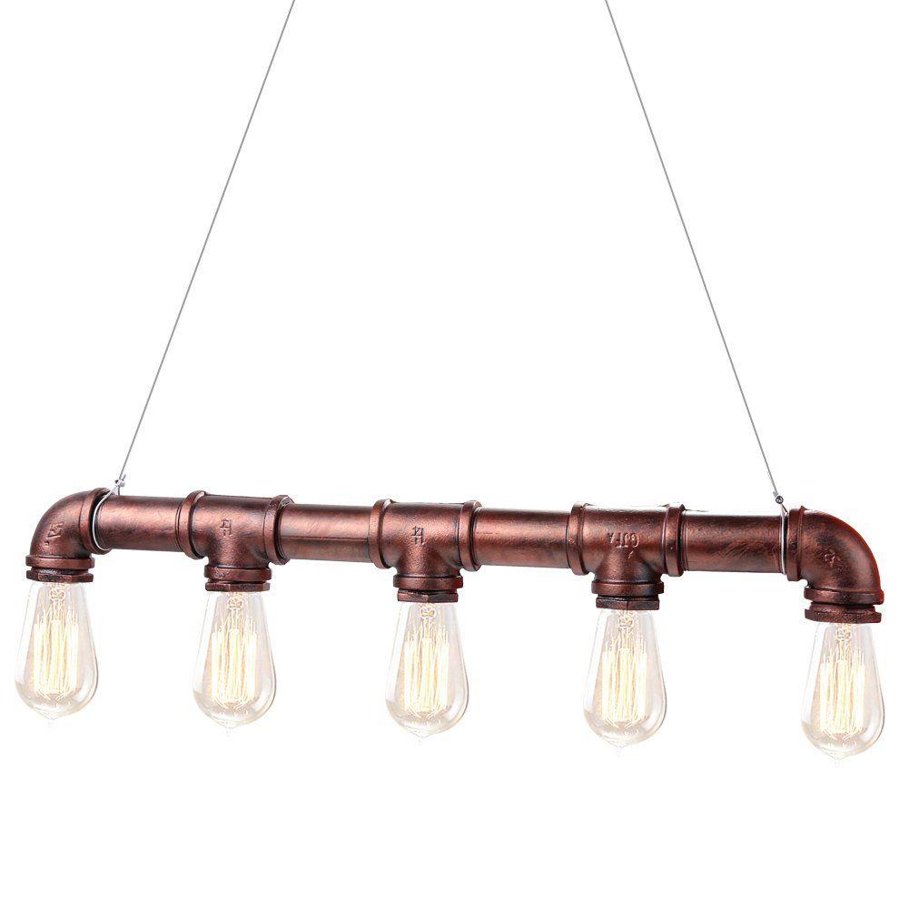 Fuloon Pipe Vintage Luces pendientes Agua Lmpara colgante con 5 Edison Bulbos color de bronce antiguo Iluminacin Lmpara de techo para Cafe
