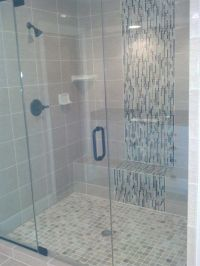 mosaic glass tile shower waterfall accent - Google Search ...