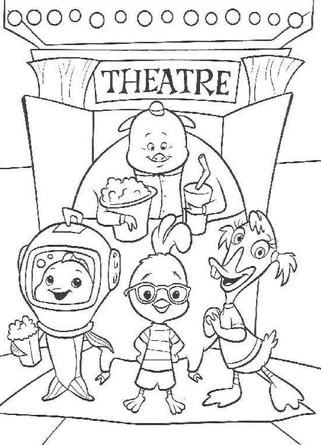 Chicken Little and Friend Watch Theatre Coloring Page