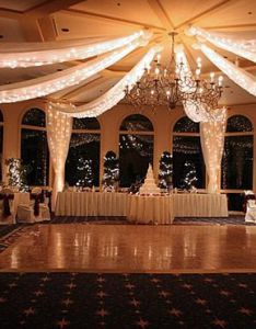 Indoor reception lighting wedding hall receptions ceiling draping also best images about on pinterest rh