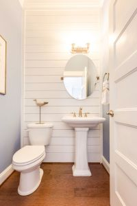 coastal powder bathroom with shiplap wall | Bathroom Love ...
