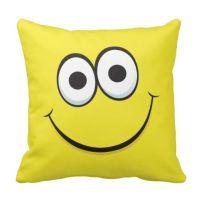 Yellow happy cartoon smiley face funny pillow | Cartoon ...