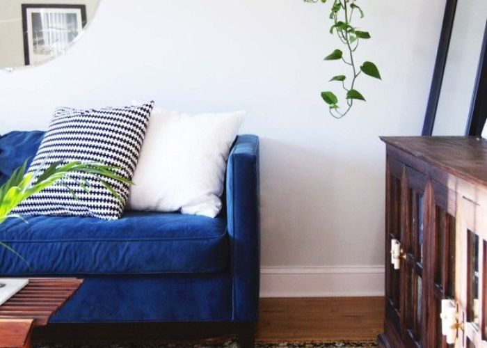 Design updates in the living room blue velvet couchblue also box sofa and