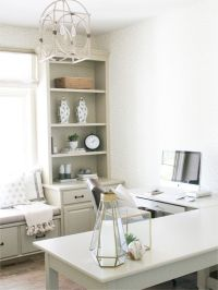 Cozy office design with L shaped desk and window seat ...