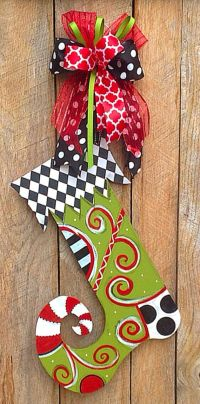 Christmas Door Hanger Wood Stocking Decorations by ...