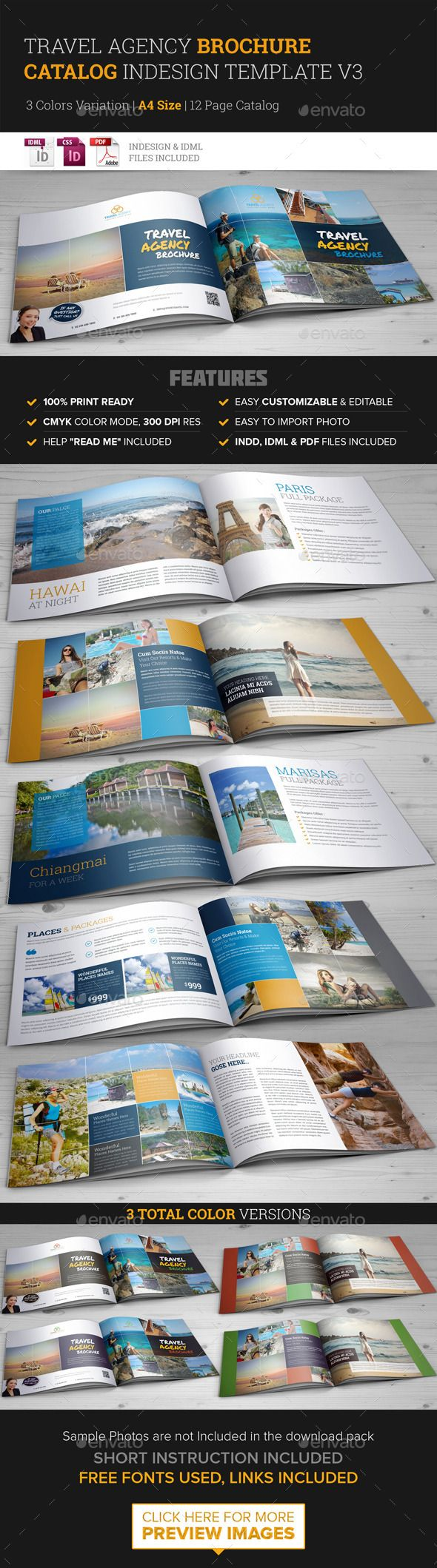 Travel Agency Brochure Catalog Indesign Template #design Download:  Http://graphicriver.