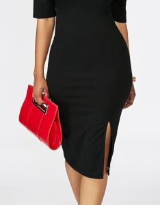 Half sleeve black cold shoulder front slit dress rosewe also  have  thing for simple designs sometimes less really is more rh pinterest