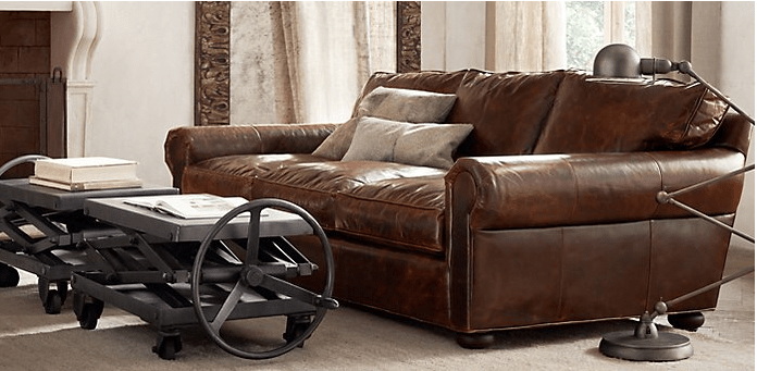 who makes restoration hardware leather sofas cinema sofa relaxed-living-room-with-leather-sofa-and-industrial ...