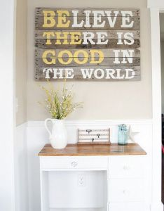 wall decor ideas wood pallet sign so want this for the new house also believe there is good in world home that  love rh pinterest