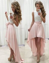 high-low homecoming dresses, pink homecoming dresses, lace ...