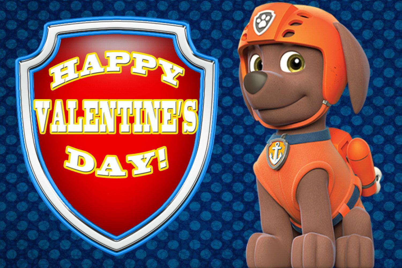 Zuma Paw Patrol 4x6 Printable Valentine S Day Card By
