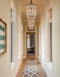 Narrow hallway with hanging lanterns and runner decorating ideas for narrowhallwaydecorating also rh pinterest