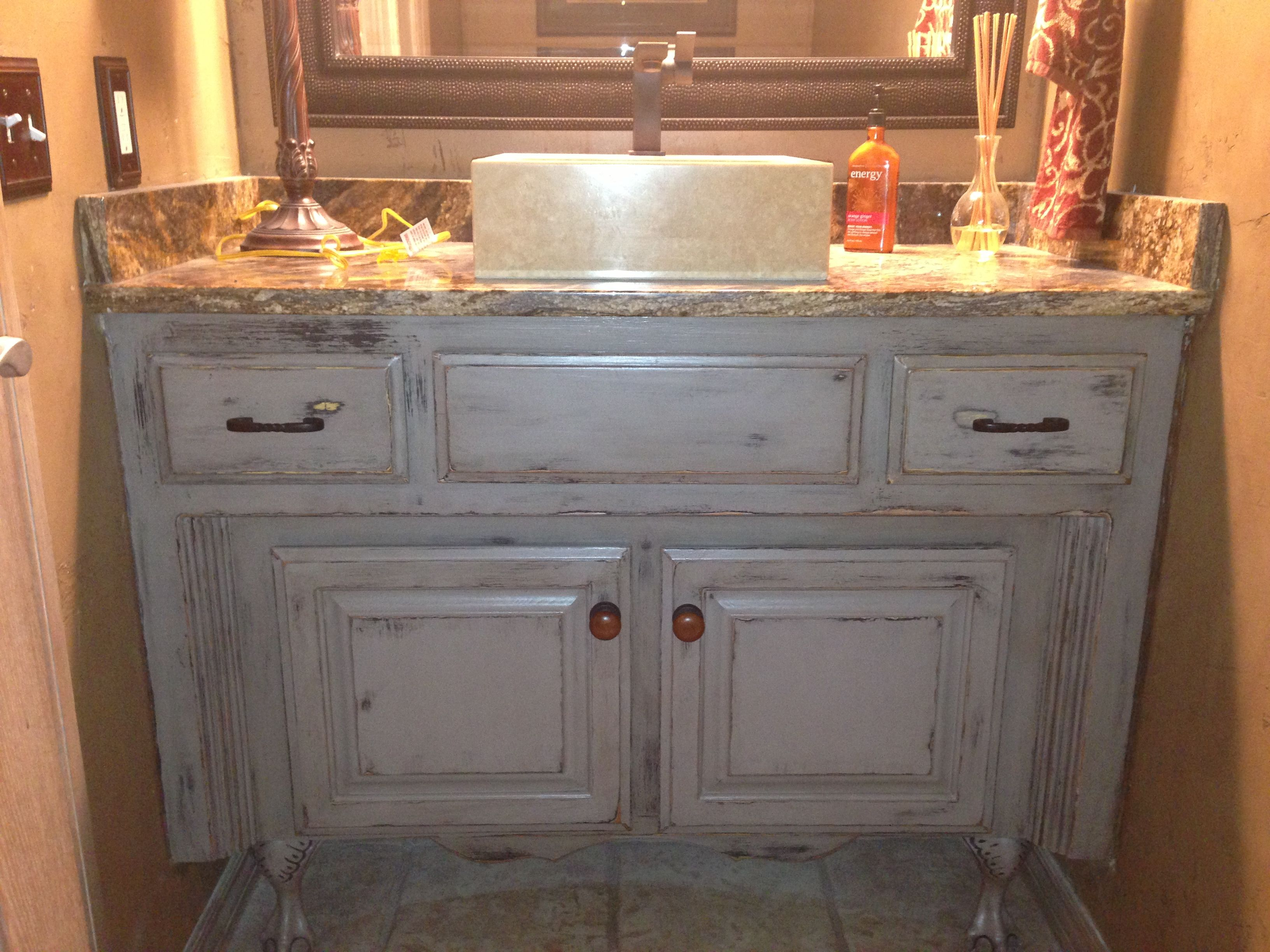 Painted Bathroom Vanity Painted Glazed Distressed Bathroom Vanity Started With