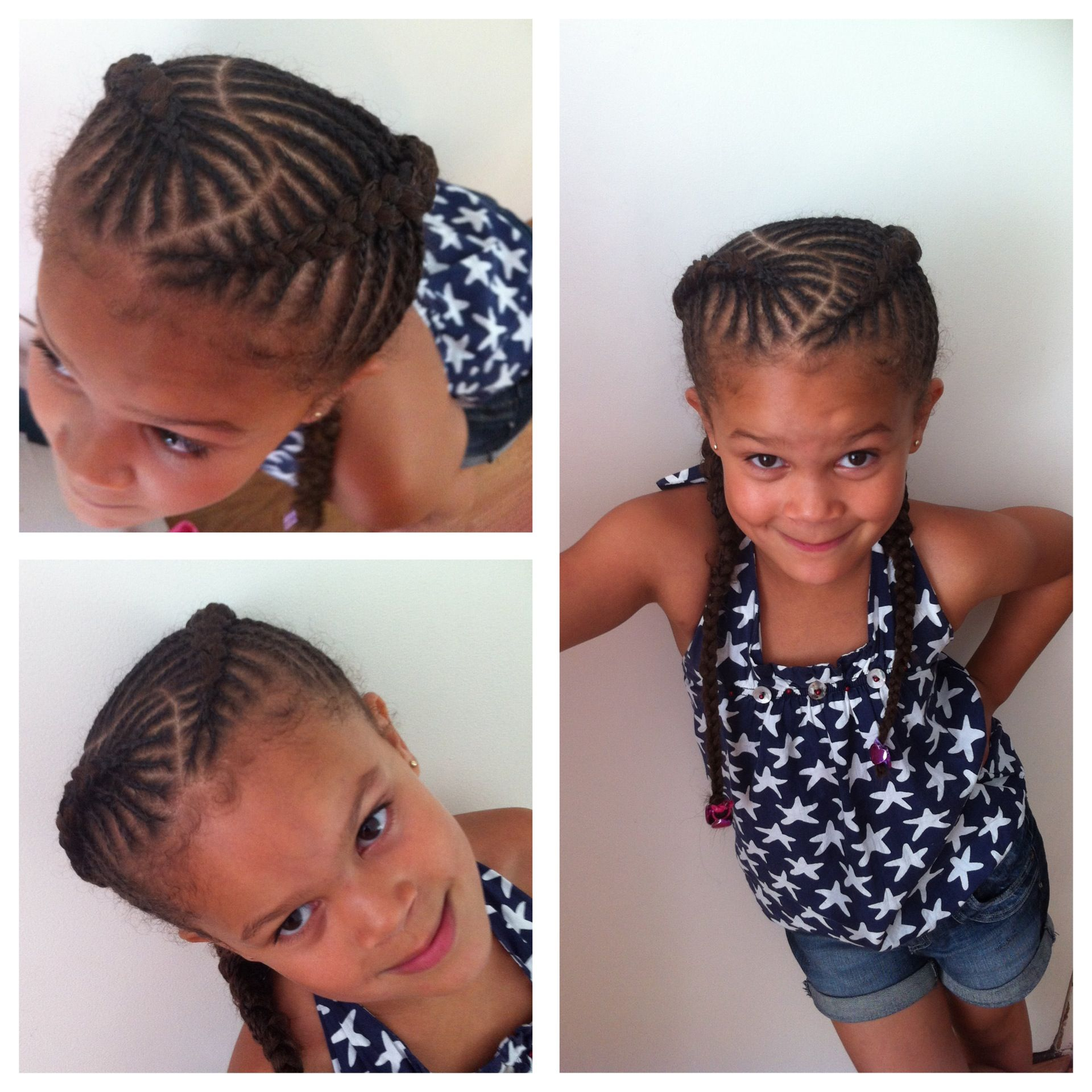 Fishbone Braids Cornrows For Girls Natural Hair Kids