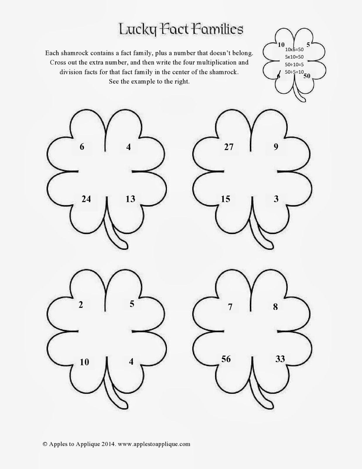 Free St Patrick S Day Math Printables Multiplication Division Fact Family Activity