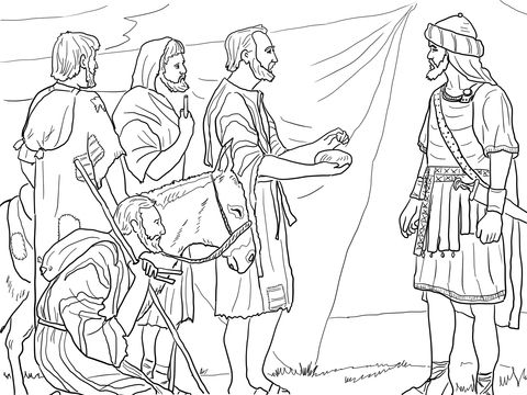 Los Gabaonitas Engañan a Josué Dibujo para colorear