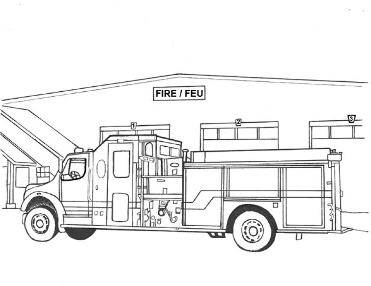 Realistic and detailed Fire Truck coloring image for older