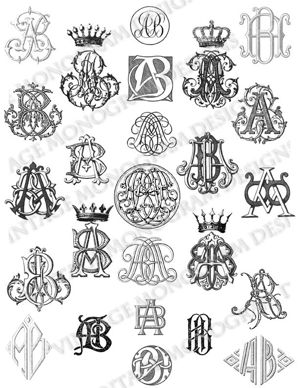 Custom monogram collection created using monograms from