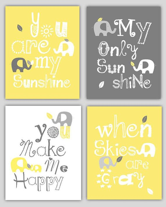 Kids wall art yellow and gray nursery decor by littlepergola also sale baby grey you are my sunshine rh pinterest