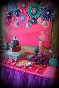 Pink purple turquoise, It's a girl Baby Shower Party Ideas