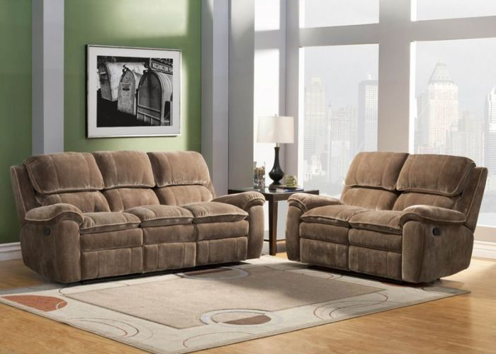 Brown microfiber dual reclining sofa loveseat tufted living room set also