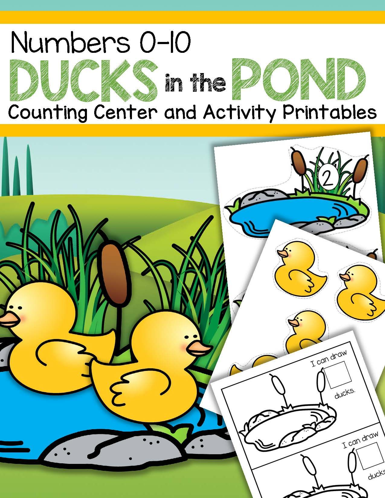 Ducks In The Pond Counting Center And Printables 0 10 Preschool Kindergarten