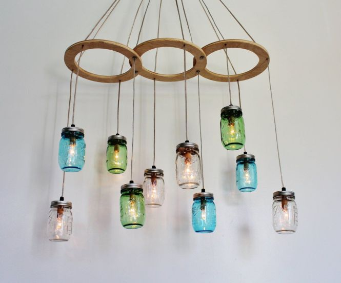 Creative Diy Upcycled Hanging Glass Chandelier Lighting For Rustic Farmhouse Dining Table Or Kitchen Es Ideas Furniture