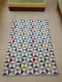 RETRO Geometric Rug-Grey,Silver,Red,Green,White &Teal ...
