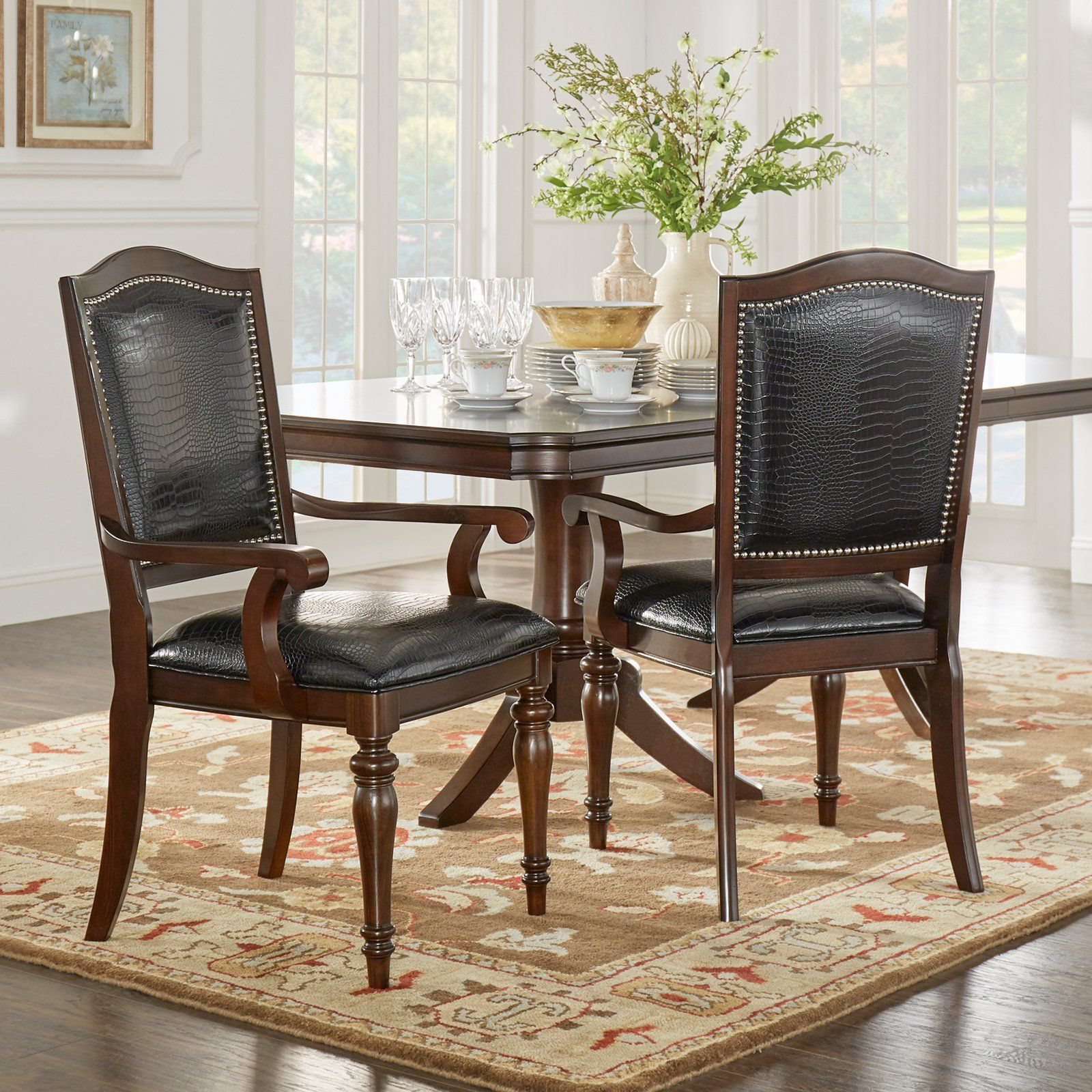 Leather Dining Chairs With Nailheads Homelegance Marston Alligator Faux Leather Nailhead Dining
