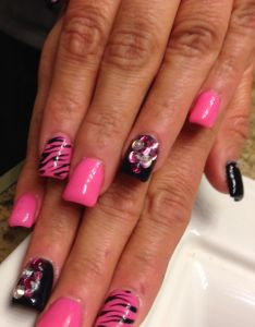 Stunning acrylic nail design in neon pink and black with gem accents also katie   pins pinterest acrylics rh