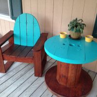 Front porch patio furniture. Electric wire spool table